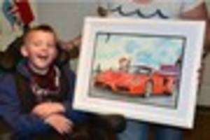amazing caricature drawing captures moment terminally ill boy...