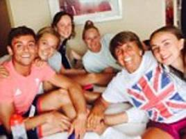 team daley has landed! diving king tom posts instagram selfies with his family around olympic park as he prepares to go for gold in rio