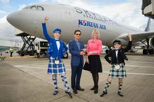 korean air lands in scotland for first time