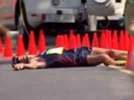 an unfortunate case of the runs! french athlete can't wait for the toilet halfway through the 50km walk race - but continues on anyway