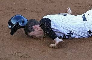 white sox rookie slides into third base on his face