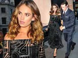lily james is a vision in black with beau matt smith for new burberry campaign