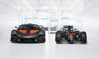 matching livery mclaren p1 gtr and mp4/31 f1 car are an mso commercial in carbon