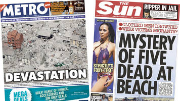 Newspaper headlines: Italy earthquake and Camber Sands deaths