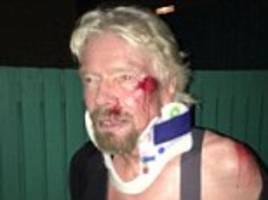 Richard Branson nearly died in high speed bike crash when he smashed head first onto the road