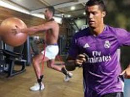 cristiano ronaldo works out as he looks to make real madrid return after winning best player in europe award