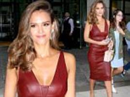 jessica alba turns every head in skintight red leather dress for the tonight show