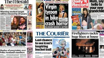 scotland's papers: police scotland numbers and branson in bike crash