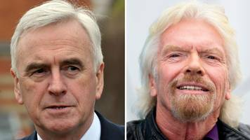 sir richard branson 'should lose knighthood' - john mcdonnell