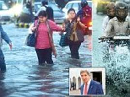 US Secretary of State John Kerry starts his India visit by getting stuck in NCR traffic thanks to waterlogging
