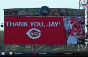 reds honor jay bruce's first visit back to cincinnati with pre-game ceremony