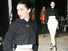 kendall jenner flashes her trim midriff in sports chic inspired look during nyfw