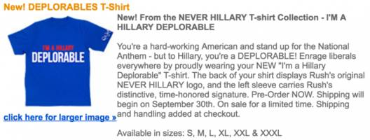rush limbaugh is now selling 'i'm a hillary deplorable' t-shirts