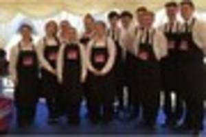 students from bath college work alongside michelin-starred chefs...