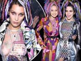 kendall jenner and gigi hadid show off dreadlock wigs at marc jacobs show