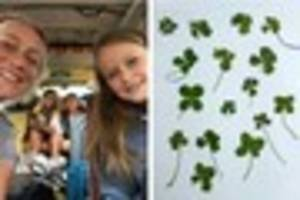 Super lucky family find 17 four leaf clovers after van breaks...
