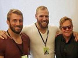 england rugby stars chris robshaw, james haskell and owen farrell enjoy hanging out with music legend elton john at london gig