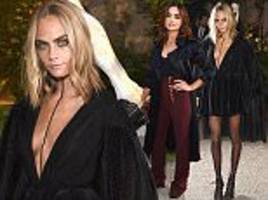 cara delevingne wears witchy ensemble with gothic cape at burberry ss17 lfw show