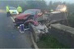 dad calls for warning signs after fourth car crashes into bridge...