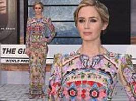 emily blunt glows in heavily-embellished floral gown at the girl on the train premiere