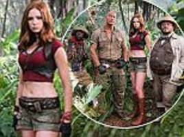 Jumanji cast is seen in character as Dwayne 'The Rock' Johnson, Kevin Hart, Jack Black and Karen Gillan shoot remake in Hawaii