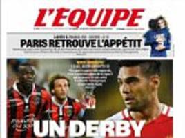 mario balotelli prepares to take on radamel falcao as french press look ahead to 'derby at the top' between nice and monaco