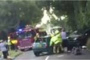 A woman is still fighting for her life after a major crash near...