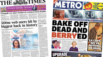 newspaper headlines: mary berry quits bake off and yahoo hack
