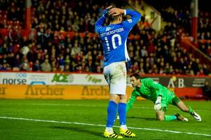 late adam rooney header knocks st johnstone out of the betfred league cup