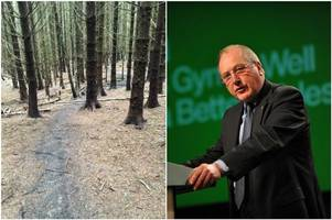Former Welsh Secretary Ron Davies denies a video clip shows him blocking a mountain bike path