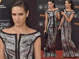 jennifer connelly wears a shimmering silver gown at the san sebastian film festival