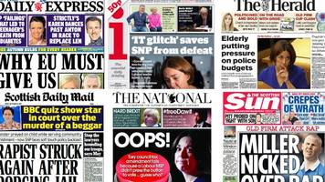 scotland's papers: button 'blunder' and berry will bake on