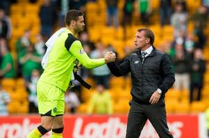 brendan rodgers questions bt sport over showing craig gordon tackle fourteen times having only replayed harry forrester's twice the previous night