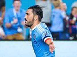 david villa's double against chicago fire puts patrick vieira's new york city on the brink of securing their first ever mls playoff spot