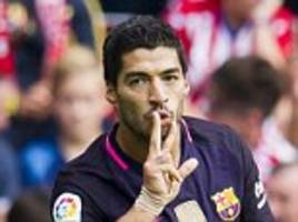 sporting gijon 0-5 barcelona: luis suarez, neymar arda turan and rafinha with the goals as catalans show they can cope without the injured lionel messi