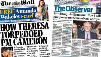 newspaper headlines: may torpedoed cameron and corbyn vindicated