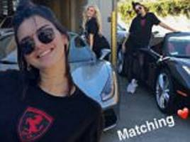 Kendall and Kylie Jenner show off their new matching Ferrari convertibles