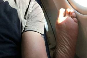 Worst things airplane passengers have ever done - photos shame them for everything from wandering feet to public indecency
