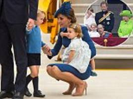 let's hope the queen didn't see! the duchess of cambridge practices the same parenting technique on canada tour that saw prince william scolded by her majesty