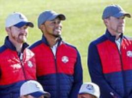 Tiger Woods tries to get in on USA Ryder Cup team photo... before being reminded he's not playing