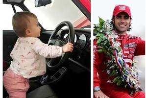 Racing ace Dario Franchitti posts cute image of baby daughter behind the wheel of Porsche