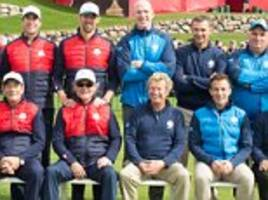 one direction singer niall horan and 23-time olympic gold medallist michael phelps play hazeltine as irish rugby legend paul o'connell delivers inspirational ryder cup speech