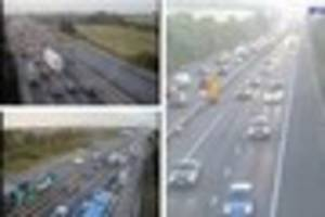 m32 backed up causing problems for commuters in and out of...
