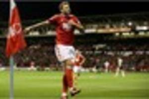 nicklas bendtner scores his first nottingham forest goal and the...