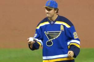kevin shattenkirk throws out the first pitch during 'blues night' at busch stadium