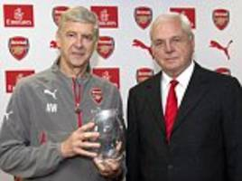 Arsenal honour 'wonderful' manager Arsene Wenger with a crystal vase for his 20th anniversary as reporters receive pens to mark the occasion