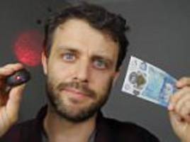 scientist steve mould shines laser through new plastic £5 note to reveal hidden feature