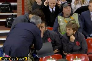 manchester united boss jose mourinho goes mental at his coaching staff during europa league clash