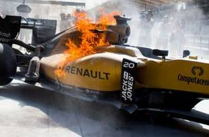 fuel leak causes formula 1 car to burst into flames