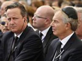 david cameron and tony blair relegated to back of shimon peres' funeral
